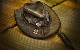 Обои нашивки, шляпа лучника, West stetson, стрелы, дикий Запад