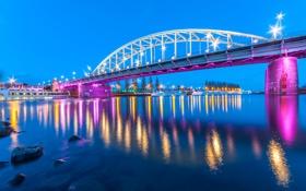 Обои мост, огни, река, берег, вечер, фонари, Нидерланды
