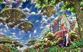 Картинка девушка, облака, замок, качели, дерево, арт, e.k.
