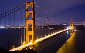 Картинка золотые ворота, залив, San Francisco, ночь, сша, мост, огни