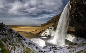 Картинка пейзаж, гора, водопад