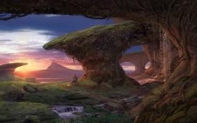 Обои закат, планета, водопад, костер, мужчина, фантастический мир, привал