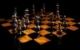 Обои шахматы, доска, фигуры, chess