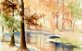 Обои пейзаж, природа, картина, акварель