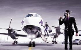 Обои машины, самолет, оружие, парень, thq, баба, фиолетовое