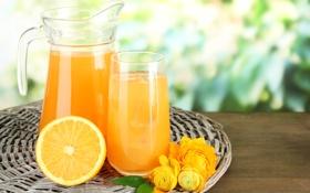 Обои желтый, стакан, оранжевый, апельсин, боке, сок, графин