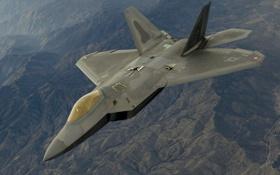 Картинка полет, истребитель, F-22, Raptor, многоцелевой