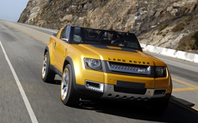 Обои желтый, 2011m, автомобиль, дорога, концепт, land rover, dc100