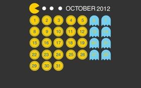 Обои игра, месяц, октябрь, game, календарь, pacman, числа