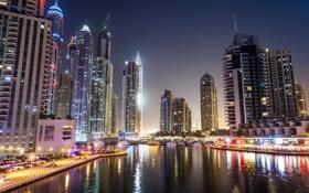 Картинка ночь, город, река, фото, дома, небоскребы, Dubai