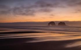 Обои природа, пляж, скалы, океан, расвет