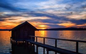 Обои закат, мост, озеро