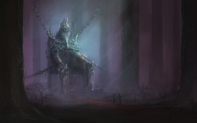 Картинка существо, лес, король, трон, корона, арт, цепи