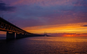 Обои пейзаж, закат, мост