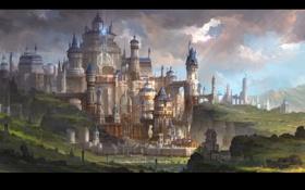 Обои пейзаж, замок, поля, строения, art, fom