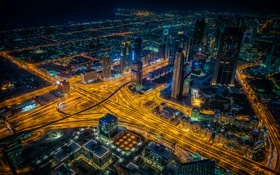 Обои ночь, огни, дороги, дома, небоскребы, панорама, Дубай