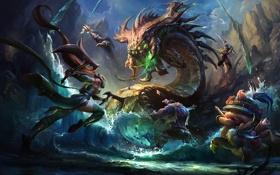 Обои вода, девушка, скалы, монстр, арт, битва, League Of Legends