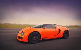 Обои дорога, тюнинг, скорость, veyron, bugatti, оранж