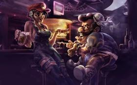 Обои пиво, бар, стойка, street fighter, барная, Chun Li, Super Mario