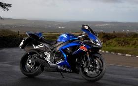 Обои синий, мотоцикл, Suzuki, moto, blue, сузуки, GSX-R 1000