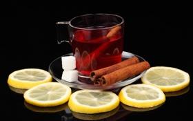 Обои отражение, стол, лимон, чай, кружка, сахар, напиток