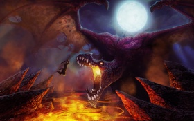 Обои ночь, скалы, луна, дракон, крылья, меч, воин