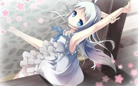 Обои взгляд, девушка, радость, ветер, art, невиданный цветок, honma meiko