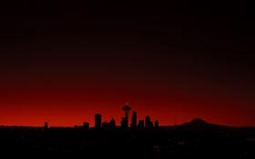 Обои здания, red, Сиэтл, sunset, buildings, Seattle