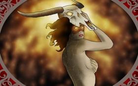 Картинка взгляд, девушка, огонь, узоры, волосы, спина, череп
