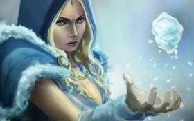 Картинка лед, кристалл, девушка, рука, арт, Crystal Maiden, DOTA 2