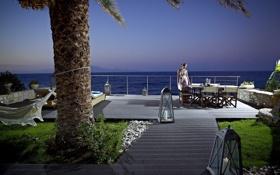 Обои девушка, пальма, стол, океан, гамак, ожидание, шампанское