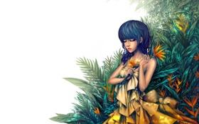 Обои желтое платье, девушка, белый фон, закрытые глаза, лицо, живопись, растения