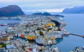 Обои горы, здания, порт, Норвегия, панорама, Norway, фьорд