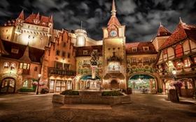 Картинка свет, ночь, парк, замок, башня, фонтан, сша