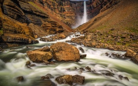 Обои камни, скалы, водопад, поток, Исландия