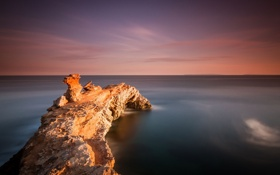 Картинка пейзаж, скала, океан, рассвет, берег