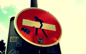 Обои красный, знак, улица