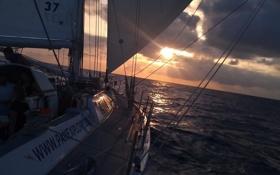 Обои путь, океан, вечер, яхта, паруса