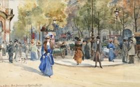 Обои девушка, деревья, город, люди, улица, Франция, фонари