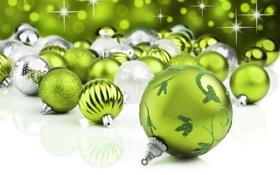 Картинка зима, шарики, украшения, шары, игрушки, Новый Год, зеленые