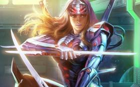 Картинка девушка, оружие, меч, арт, броня, клинки