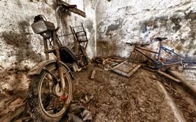 Обои велосипед, мотоцикл, лом