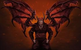 Обои крылья, рога, demon, darkness, hellspawn