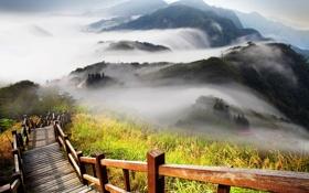Обои туман, лестница, перила, сопки