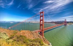 Обои San Francisco, висячий мост, пролив, город, обои, Золотые Ворота, Сан-Франциско