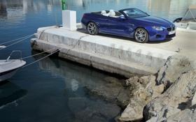 Обои вода, синий, берег, BMW, причал, БМВ, кабриолет