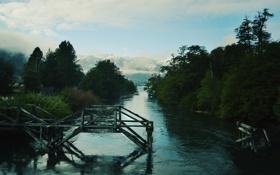 Картинка лес, горы, река, остатки моста