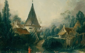 Обои пруд, дитя, стирка, Landscape Near Beauvais, Francois, Boucher, мост