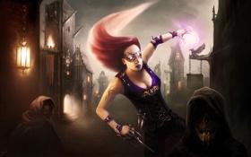 Обои девушка, город, магия, арт, очки, цбийца