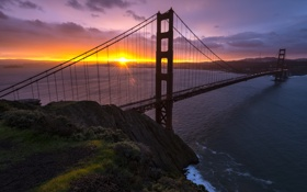 Обои США, USA, закат, San Francisco, California, Golden Gate Bridge, Сан-Франциско